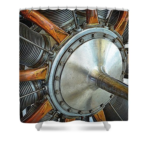 Le Rhone C-9J Engine Shower Curtain by Michelle Calkins