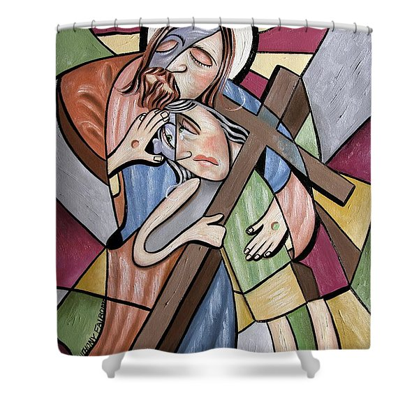 Lean On Me Shower Curtain by Anthony Falbo