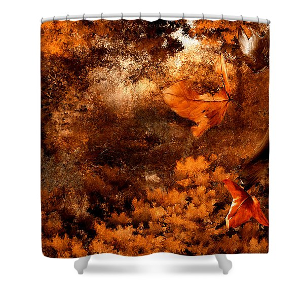 Leaves of Gold Shower Curtain by Lourry Legarde