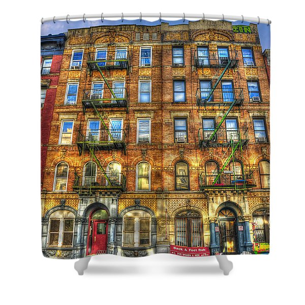Led Zeppelin Physical Graffiti Building In Color Shower Curtain by Randy Aveille
