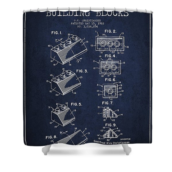 Lego Toy Building Blocks Patent - Navy Blue Shower Curtain by Aged Pixel