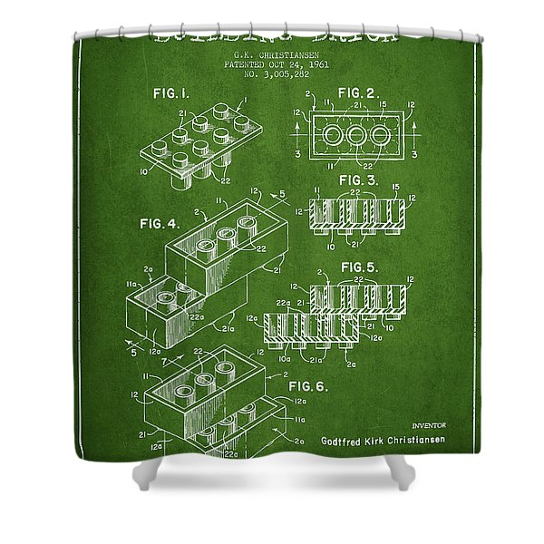 Lego Toy Building Brick Patent - Green Shower Curtain by Aged Pixel
