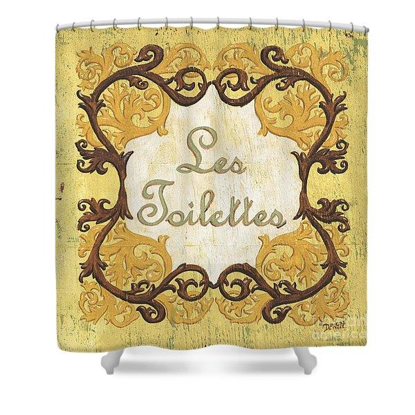 Les Toilettes Shower Curtain by Debbie DeWitt