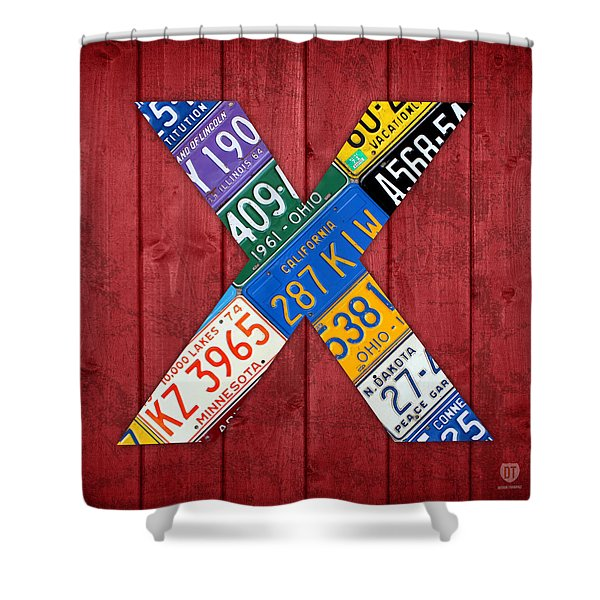 Letter X Alphabet Vintage License Plate Art Shower Curtain by Design Turnpike
