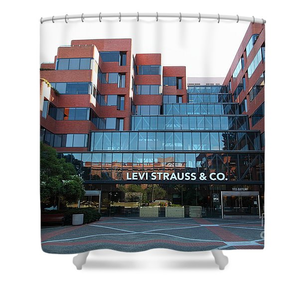 Levi Strauss and Company Plaza At The San Francisco Embarcadero 5D26202 Shower Curtain by Wingsdomain Art and Photography