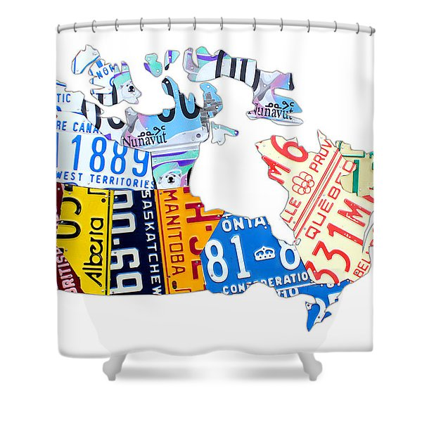License Plate Map Of Canada On White Shower Curtain by Design Turnpike