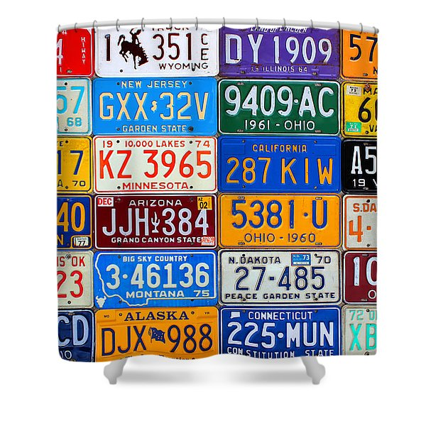 License Plates Of The Usa - Our Colorful American History Shower Curtain by Design Turnpike