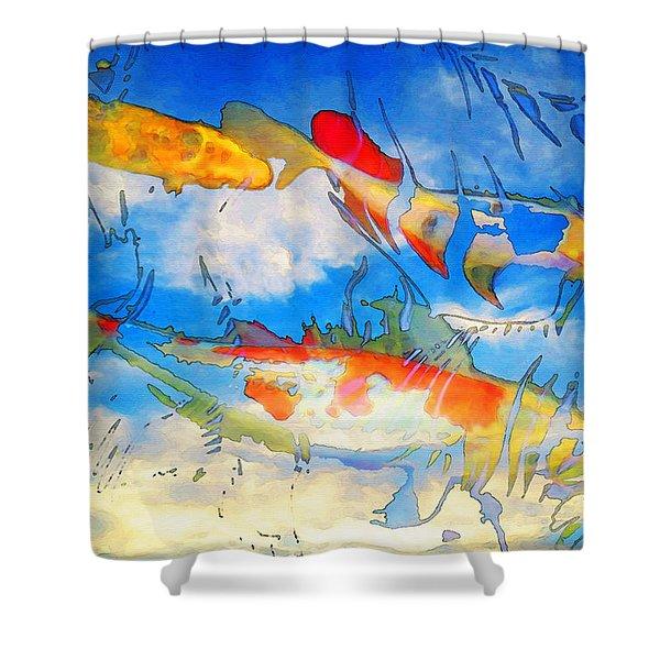 Life Is But A Dream - Koi Fish Art Shower Curtain by Sharon Cummings