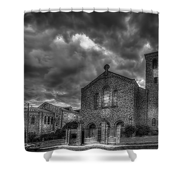 Light Above the Church Shower Curtain by Marvin Spates