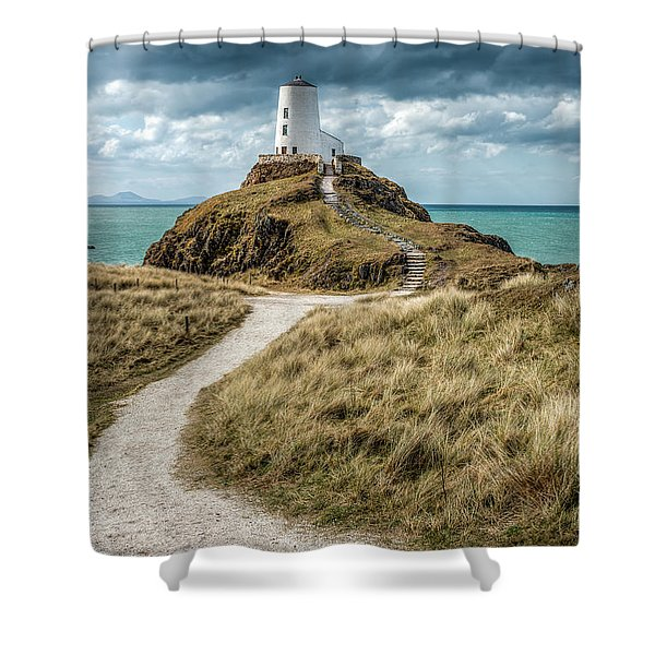 Lighthouse Path Shower Curtain by Adrian Evans
