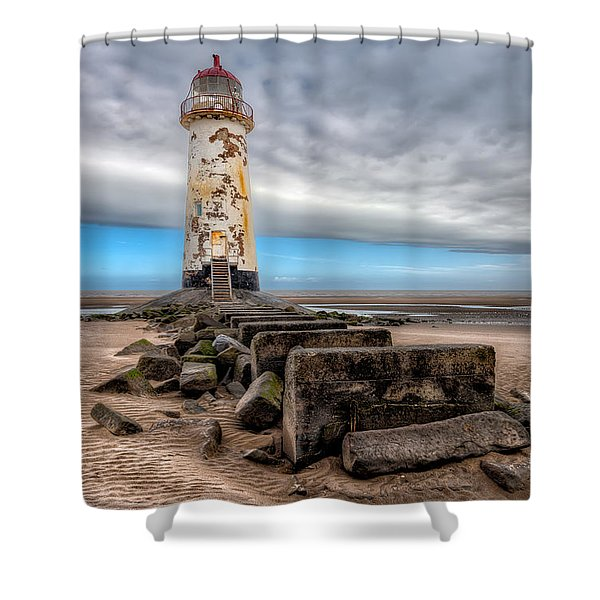 Lighthouse Steps Shower Curtain by Adrian Evans