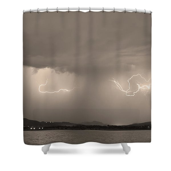 Lightning and Sepia Rain Over Rocky Mountain Foothills Shower Curtain by James BO  Insogna