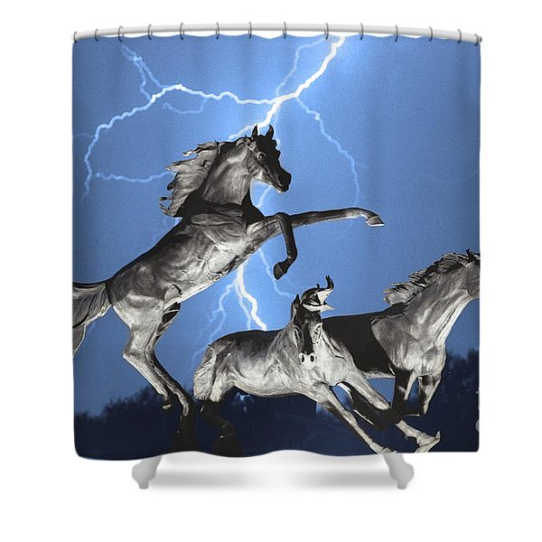Lightning At Horse World BW Color Print Shower Curtain by James BO  Insogna