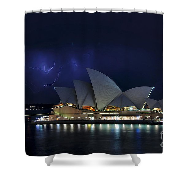 Lightning behind The Opera House Shower Curtain by Kaye Menner