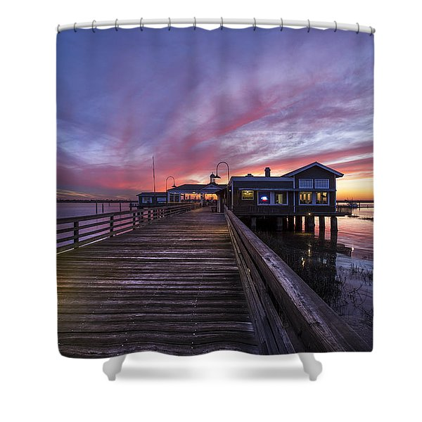Lights On The Dock Shower Curtain by Debra and Dave Vanderlaan