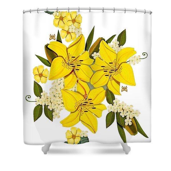 Lily Triplets Shower Curtain by Anne Norskog
