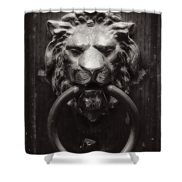Lion Door Knocker Shower Curtain by Carol Groenen