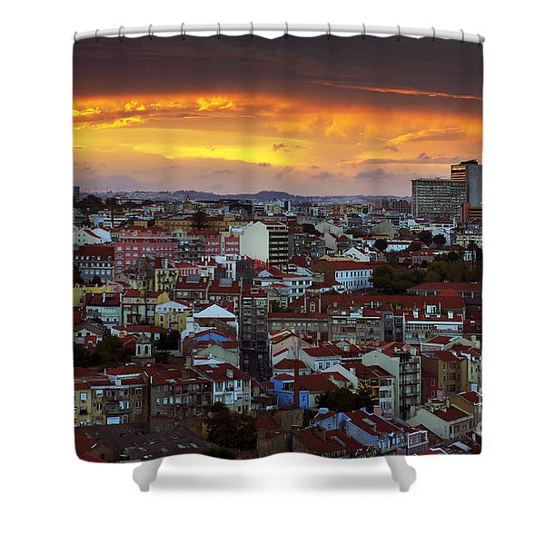 Lisbon at Sunset Shower Curtain by Carlos Caetano
