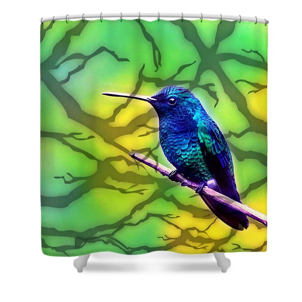 Little Bird On Branch Shower Curtain by Lanjee Chee