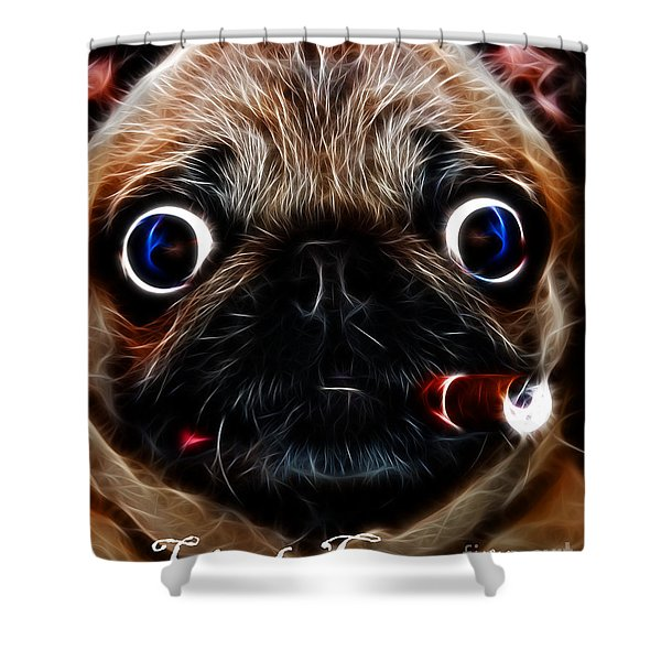 Little Capone - c28169 - Electric Art - With Text Shower Curtain by Wingsdomain Art and Photography