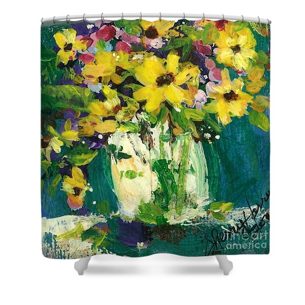 Little Daisies Shower Curtain by Sherry Harradence