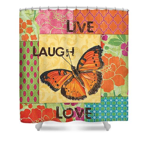 Live Laugh Love Patch Shower Curtain by Debbie DeWitt
