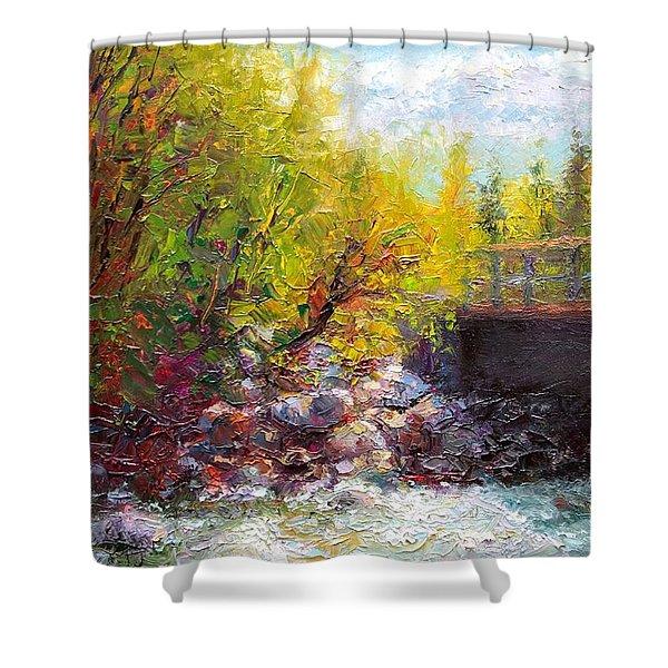 Living Water - Bridge Over Little Su River Shower Curtain by Talya Johnson