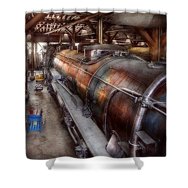 Locomotive - Routine Maintenance  Shower Curtain by Mike Savad