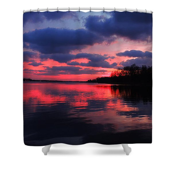 Locust Sunset Shower Curtain by Raymond Salani III