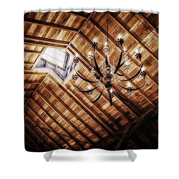 Log Cabin Chandelier  Shower Curtain by Mountain Dreams