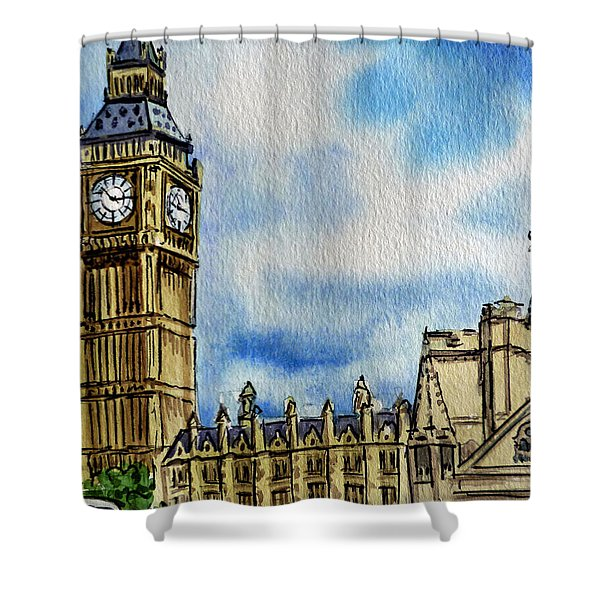 London England Big Ben Shower Curtain by Irina Sztukowski