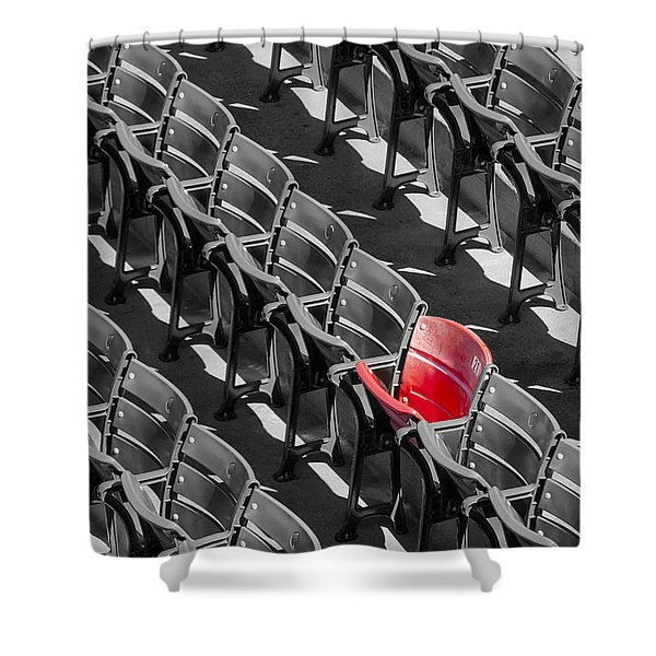 Lone Red Number 21 Fenway Park BW Shower Curtain by Susan Candelario