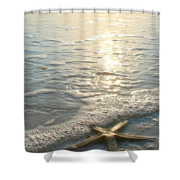 Lone Star on Lovers Key Beach Shower Curtain by Olivia Novak