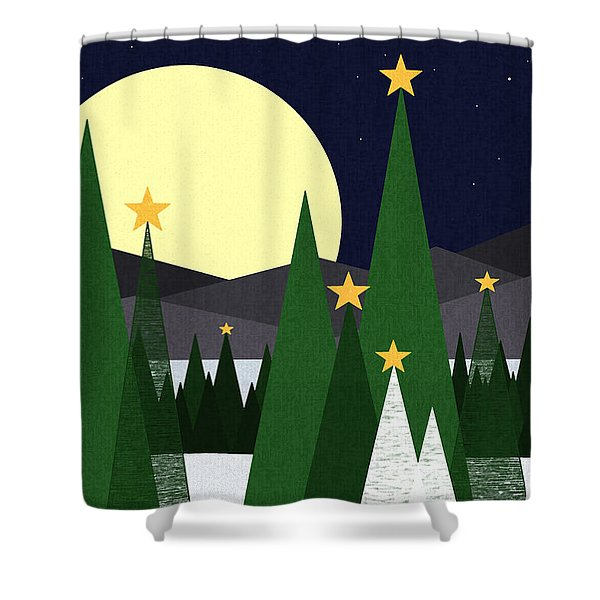 Long Night Moon Shower Curtain by Val Arie