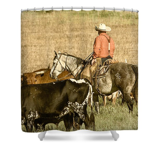 Longhorn Round Up Shower Curtain by Steven Bateson