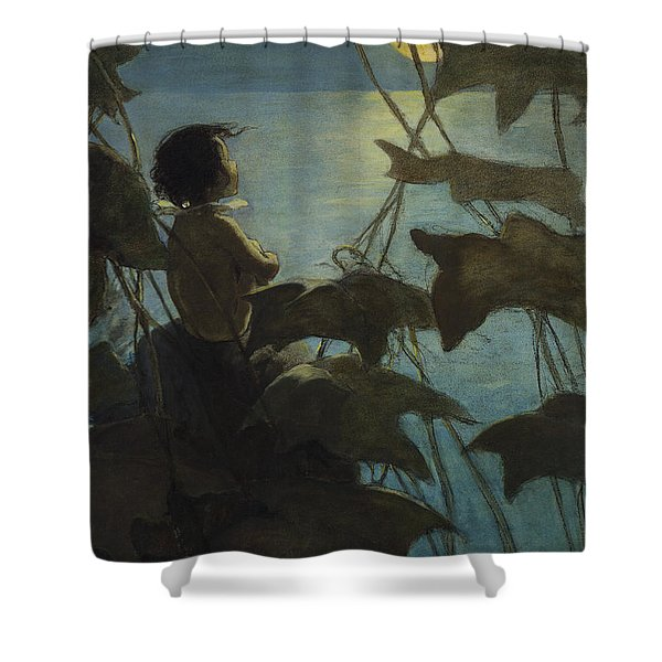 Looking at the moon circa 1916 Shower Curtain by Aged Pixel