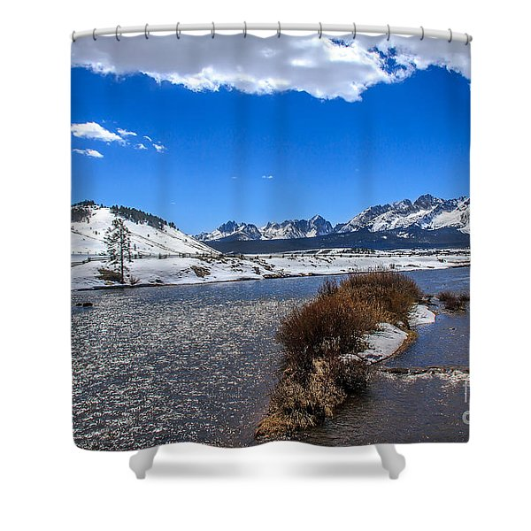 Looking Up The Salmon River Shower Curtain by Robert Bales