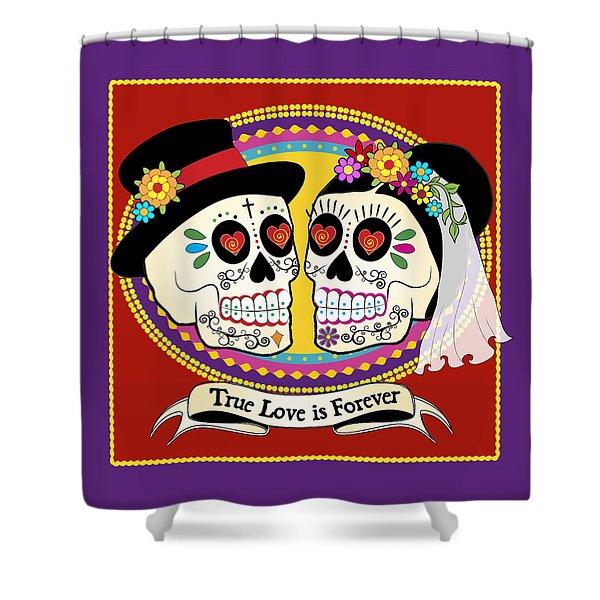 Los Novios Sugar Skulls Shower Curtain by Tammy Wetzel