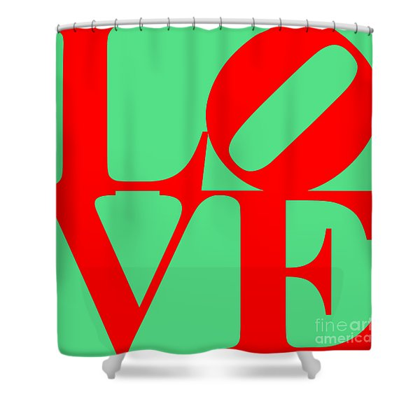LOVE 20130707 Red Green Shower Curtain by Wingsdomain Art and Photography
