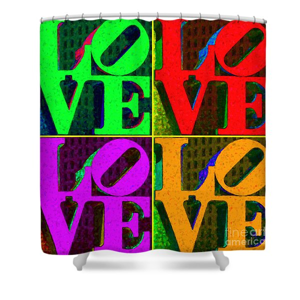 Love 4 Philadelphia - Painterly V4 Shower Curtain by Wingsdomain Art and Photography