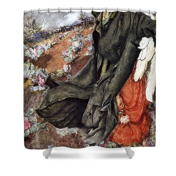 Love And The Scarecrow Shower Curtain by Eleanor Fortescue Brickdale