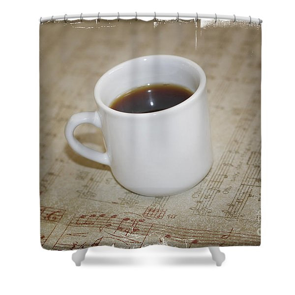 Love Coffee And Music Shower Curtain by Nina Prommer