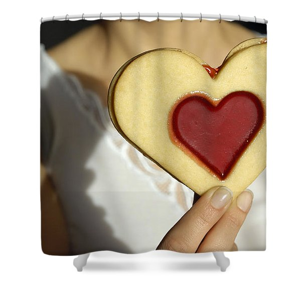 Love Heart Valentine Shower Curtain by Matthias Hauser