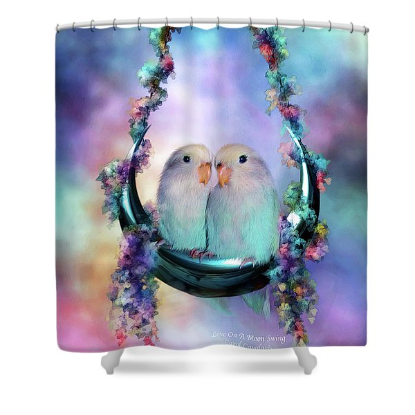 Love On A Moon Swing Shower Curtain by Carol Cavalaris