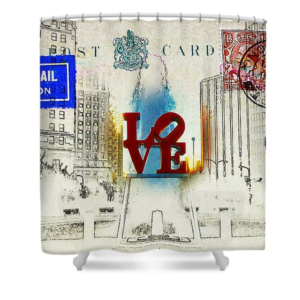 Love Park Post Card Shower Curtain by Bill Cannon