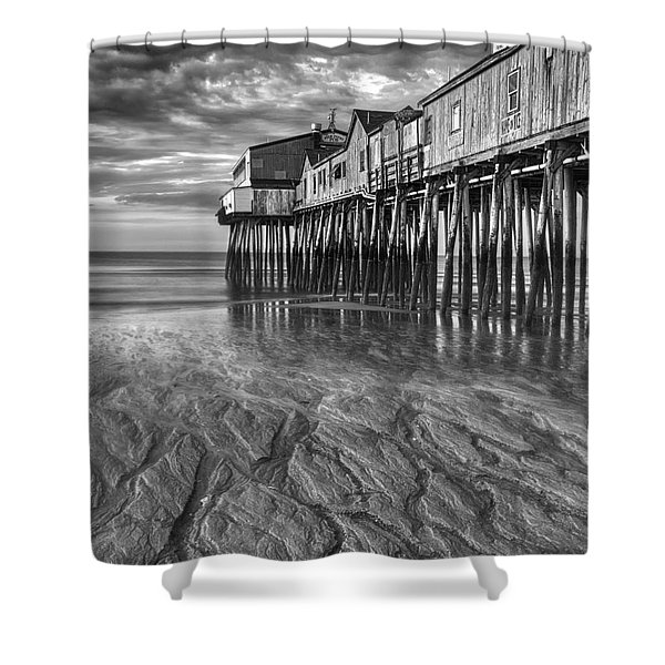 Low Tide at Orchard Beach Black and White Shower Curtain by Jerry Fornarotto