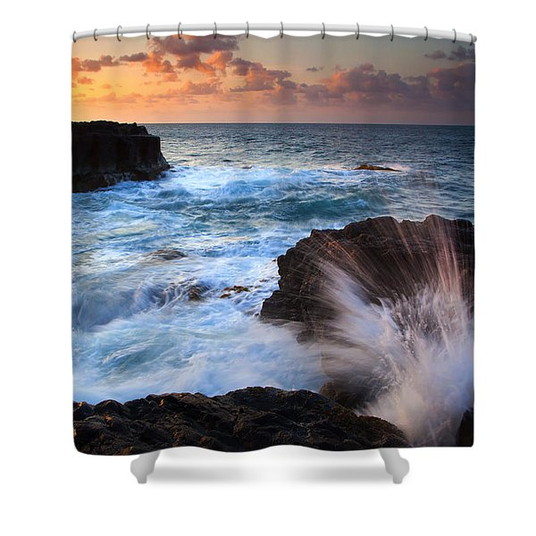 Lumahai Sea Explosion Shower Curtain by Mike  Dawson