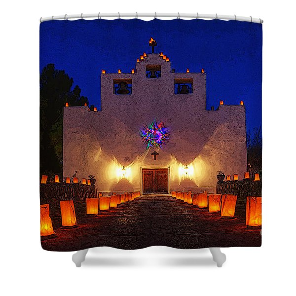 Luminaria Saint Francis De Paula Mission Shower Curtain by Bob Christopher