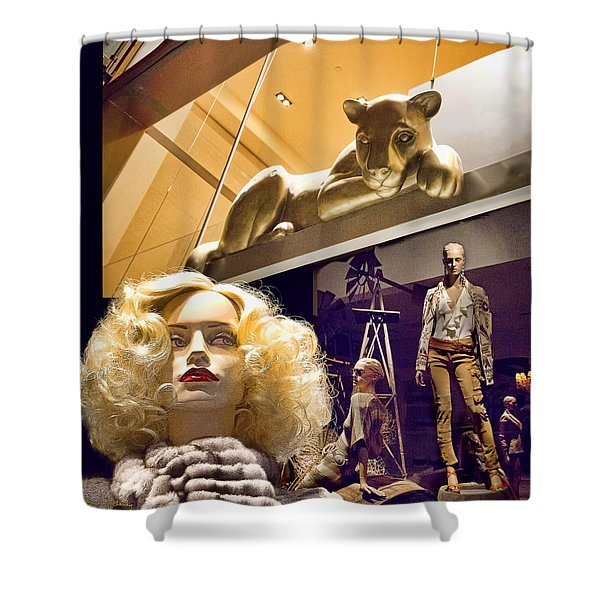 Luna Goes Shopping Shower Curtain by Chuck Staley