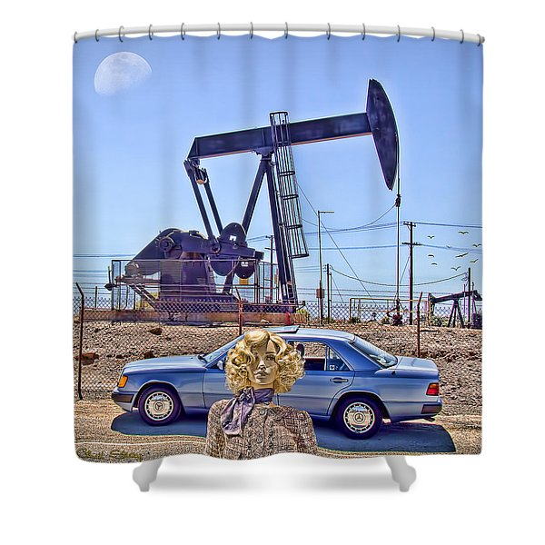 Luna Oil Shower Curtain by Chuck Staley